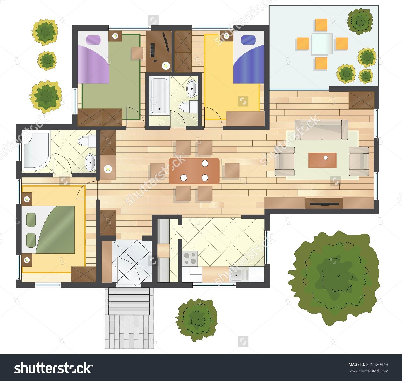 House floor plan clipart.