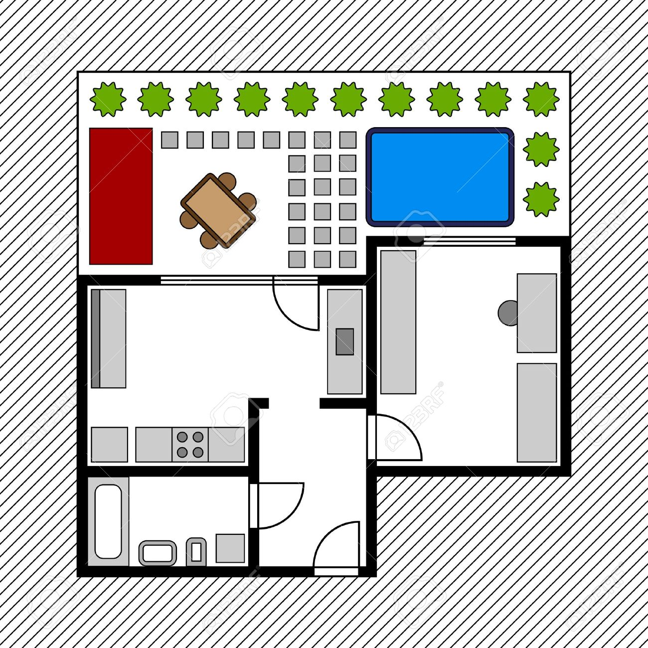 Vector House Floor Plan With Garden Royalty Free Cliparts, Vectors.