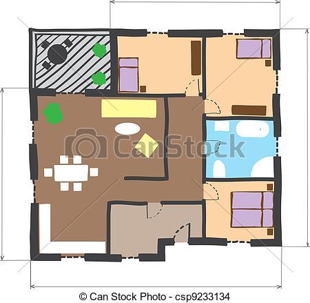 Clip Art Vector of Floor plan house sketch. Technical construction.