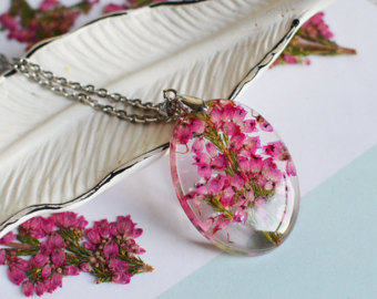 Real Flower Jewelry by EightAcorns on Etsy.