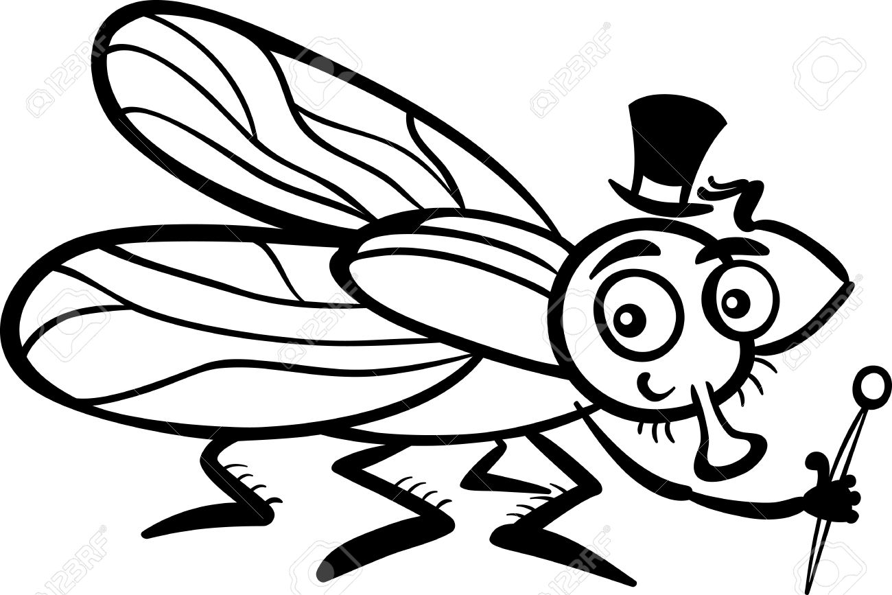 Black and White Cartoon Illustration of Funny Fly or Housefly...