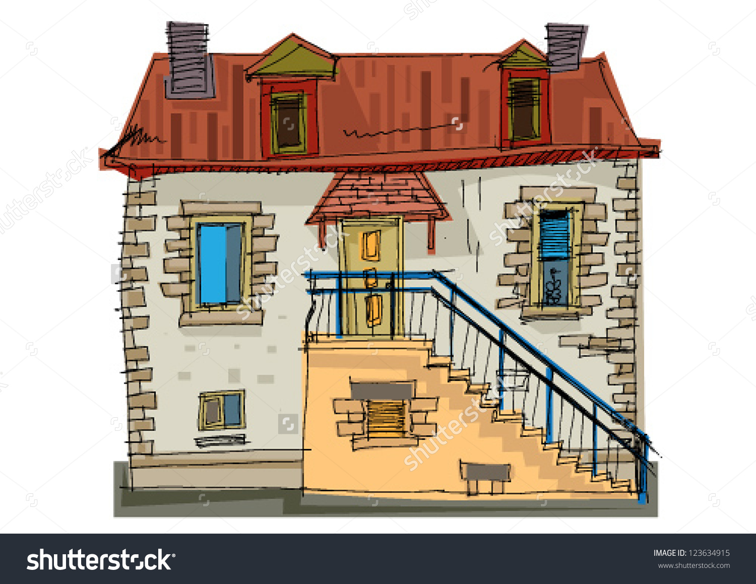Typical House Brittany France Stock Vector 123634915.