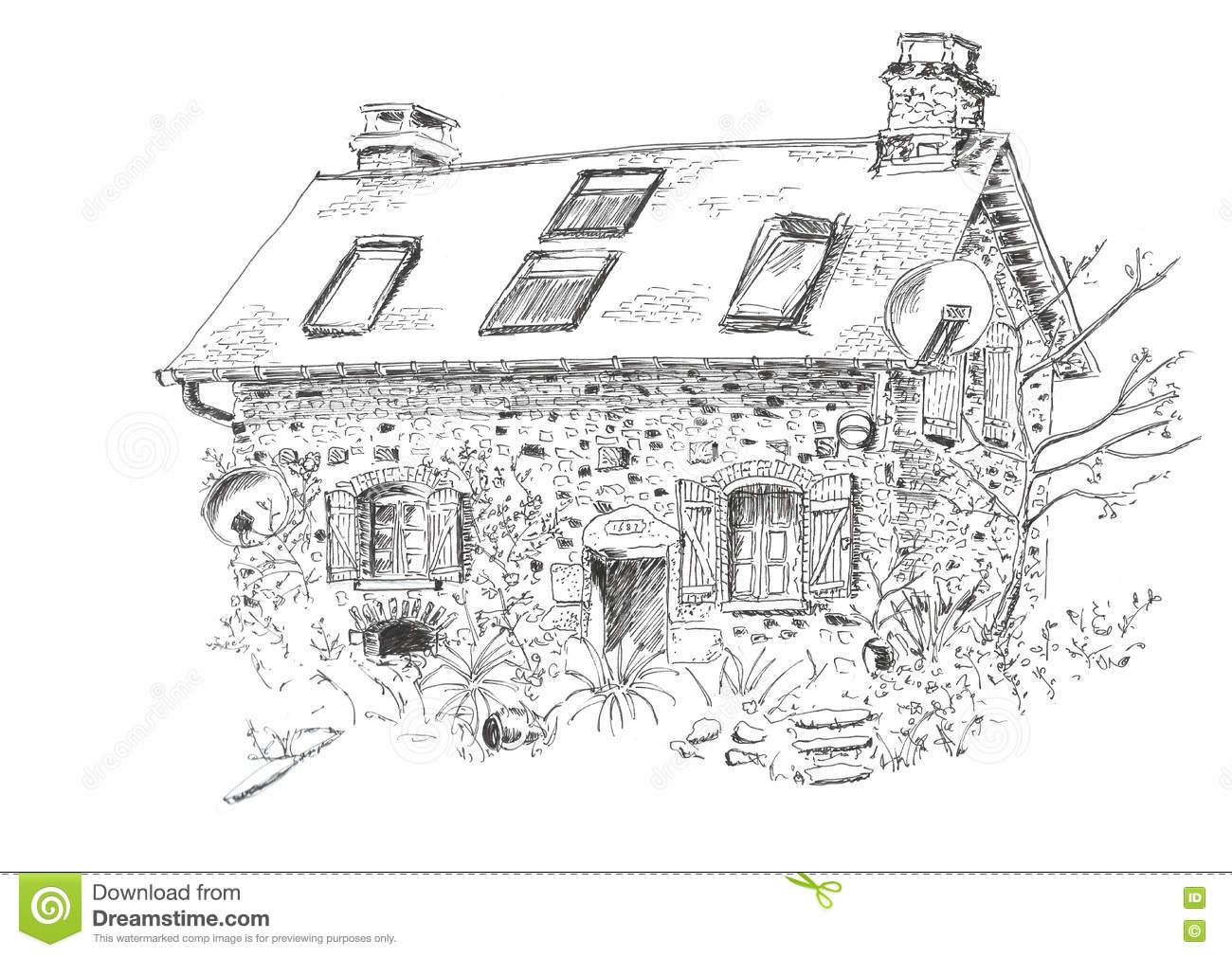 Illustration Little House Stock Illustration.
