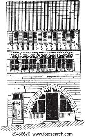 Clipart of Roman House in Saone.