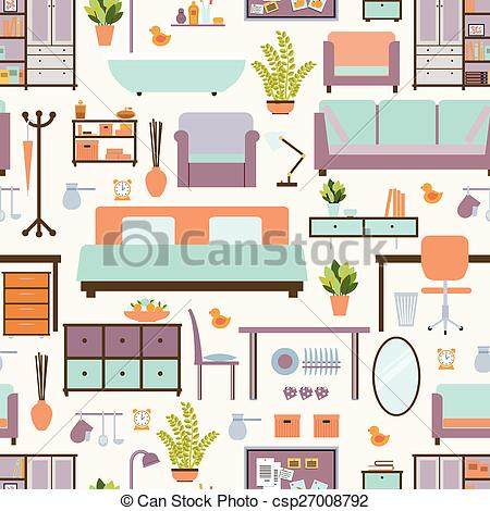 EPS Vectors of House furniture pattern seamless, background home.