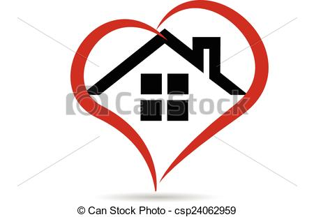 Clipart Vector of House and heart vector logo.