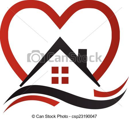 EPS Vector of House heart and waves vector logo.