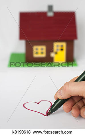 Pictures of Hand write painting heart and house on background.