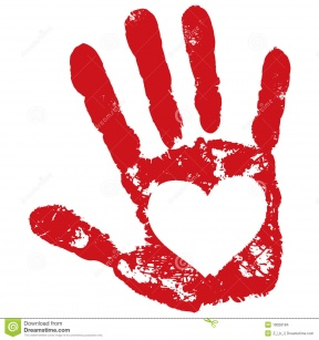 Hands With Hearts In Outline.