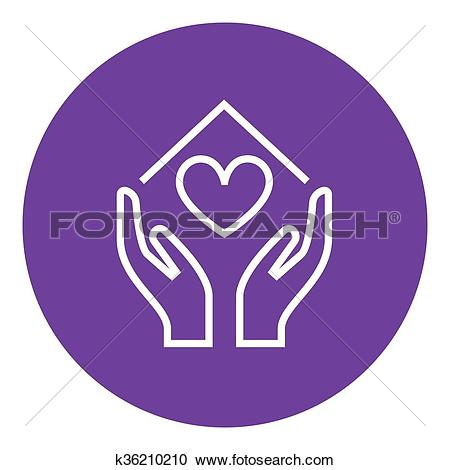 Clipart of Hands holding house symbol with heart shape line icon.