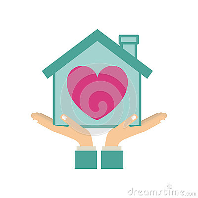 Colorful Sticker Silhouette Of Hands Holding A House With Heart.