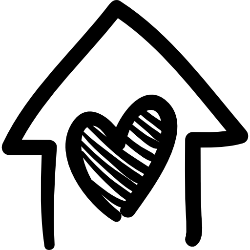 House with heart hand drawn building.