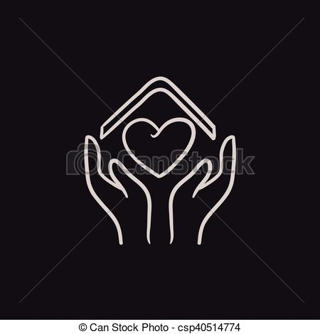 Vectors Illustration of Hands holding roof of house and heart.