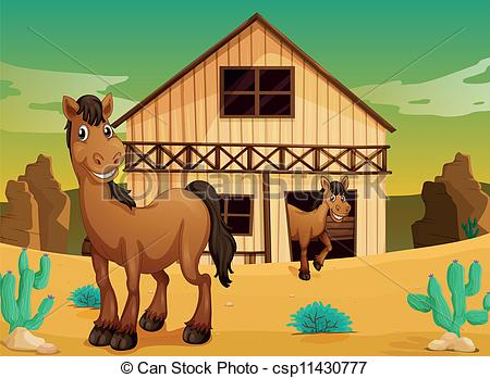 Vectors Illustration of house and horses.