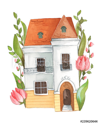 Watercolor house illustration clipart with florals and.