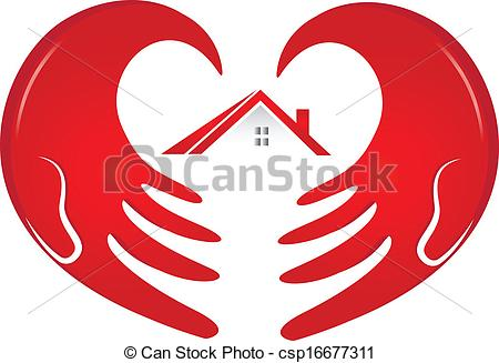 Vector Clip Art of Hands protecting a house logo.