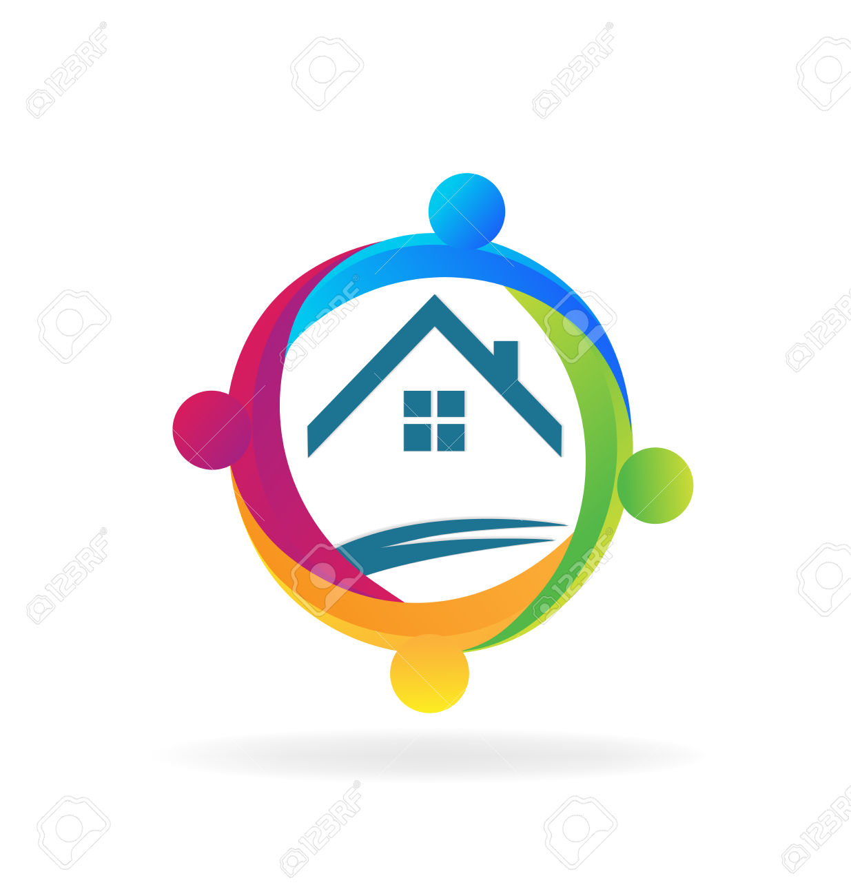 Teamwork People Around A House Logo Vector Design Royalty Free.