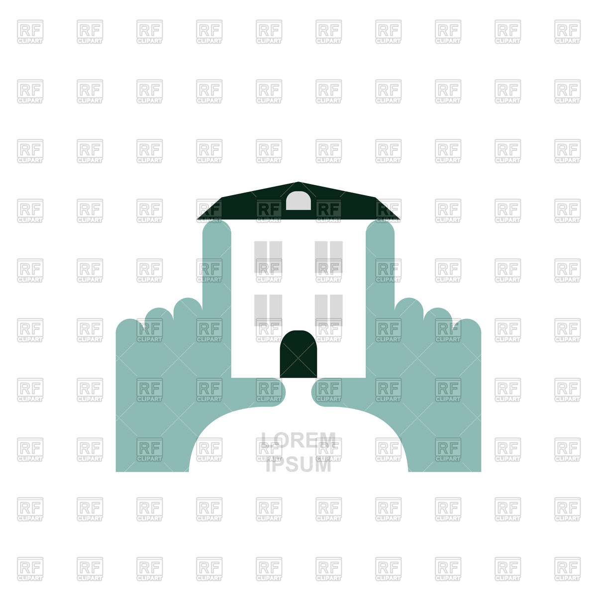 House in hands logo Vector Image #130775.