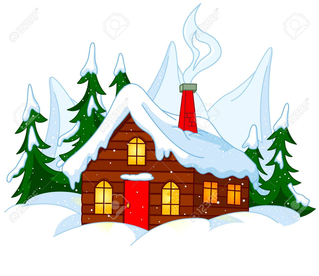 Illustration of Little house stands on snow hills..