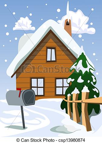 Illustration of house in snow landscape.