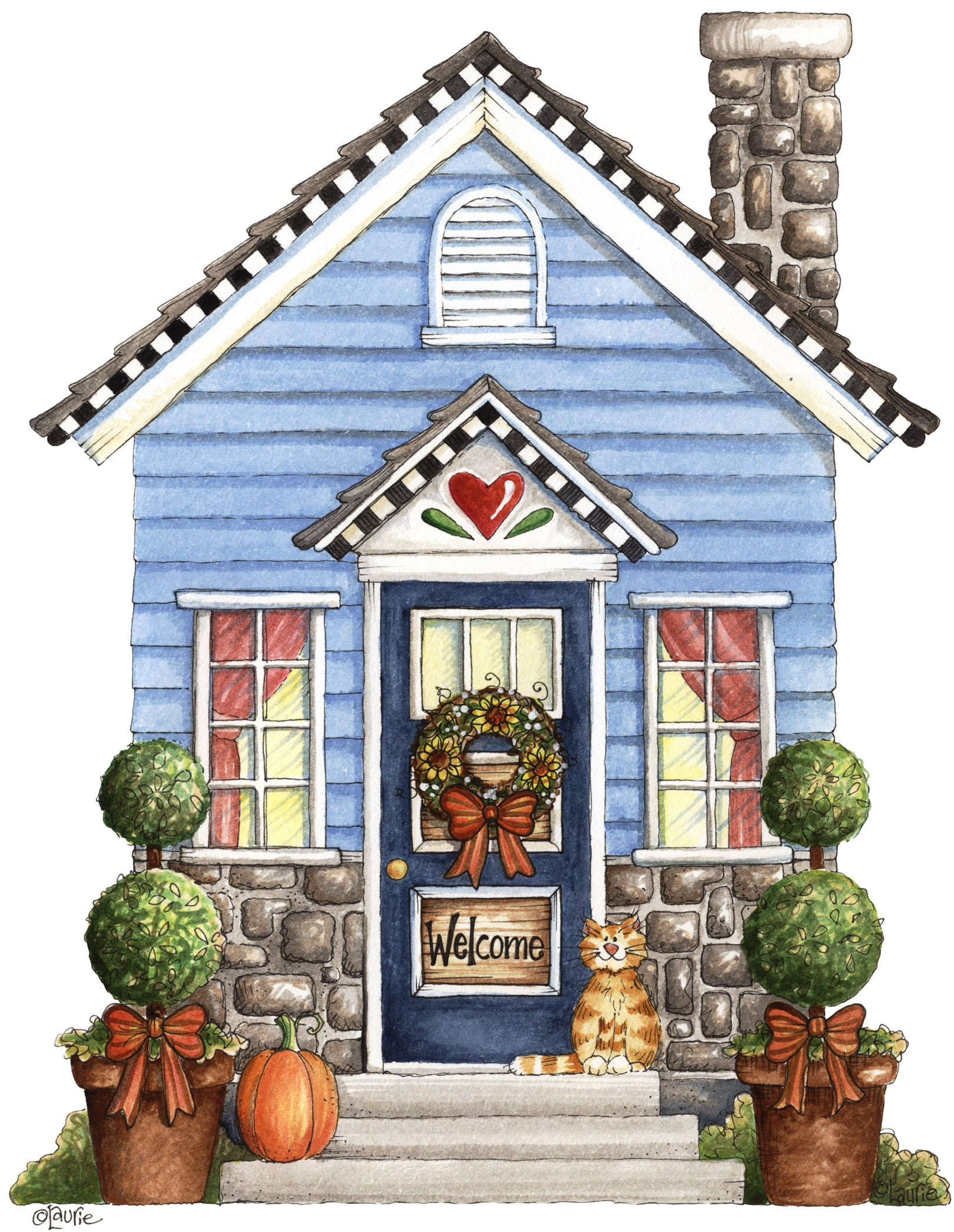 House In The Country Clipart