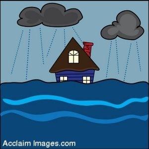 Flooded House Clipart.