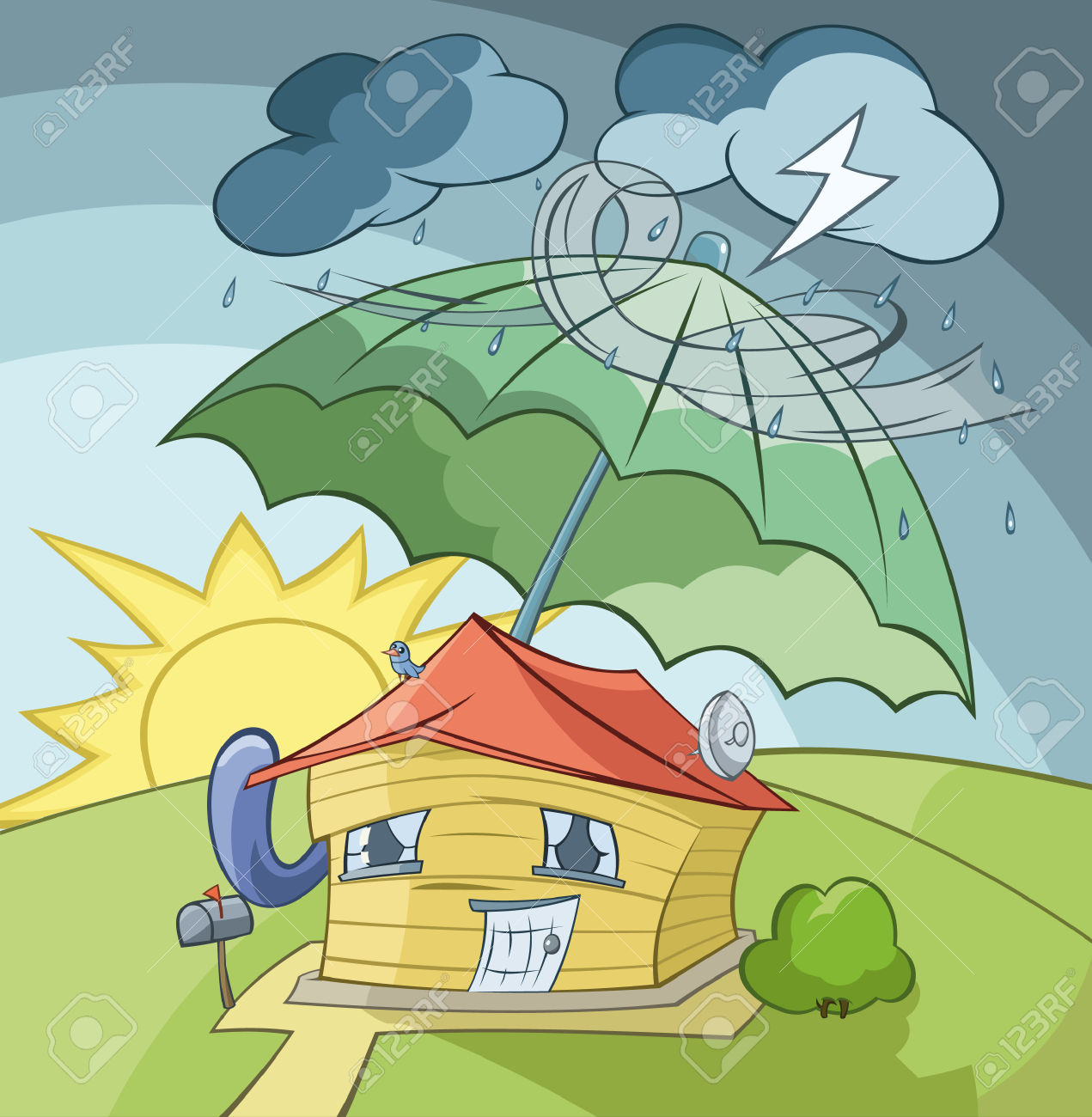 The House Is Covered From A Rain By The Big Umbrella Royalty Free.