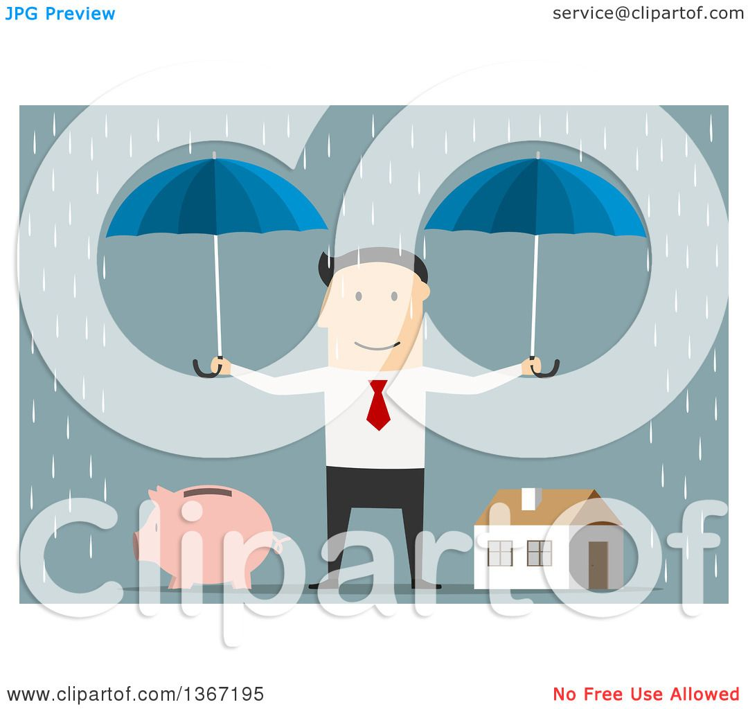 Clipart of a Flat Design White Business Man Holding Umbrellas over.