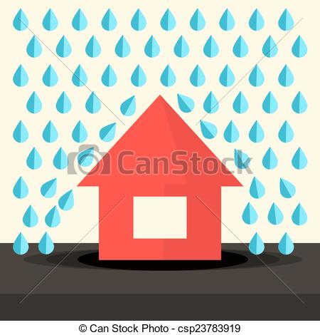 Vector Clip Art of House in Rain Flat Design Vector Illustration.