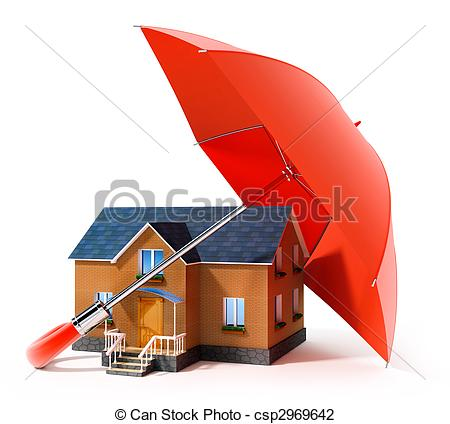 Clip Art of red umbrella protecting house from rain 3d.