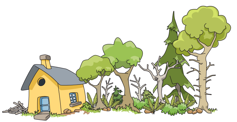 House in woods clipart.