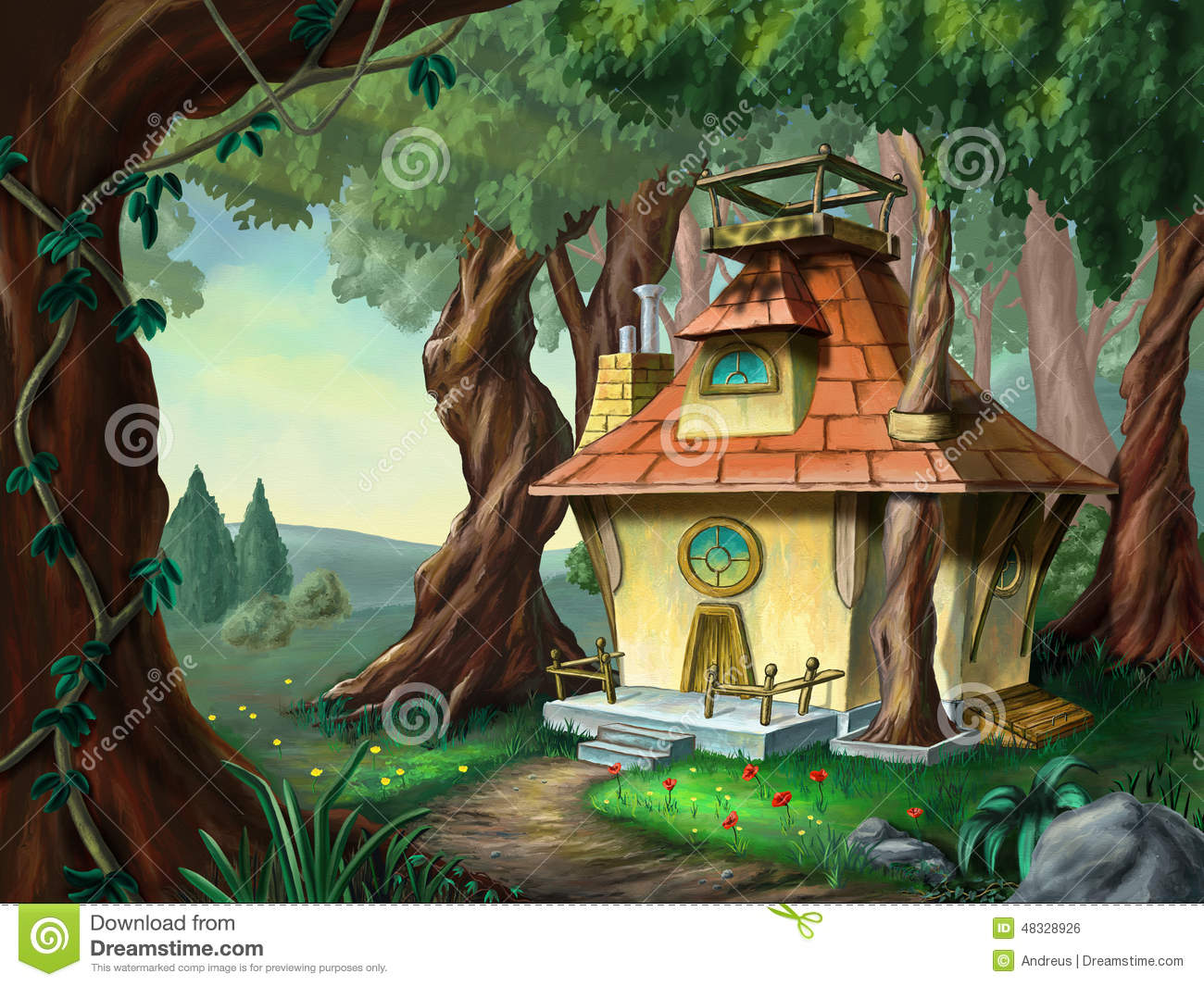 House in the woods clipart.