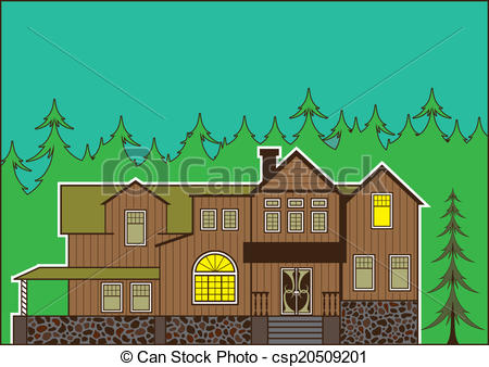 Vector Clipart of House in the woods.
