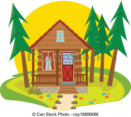 Vector Illustration Of Cabin In The Woods