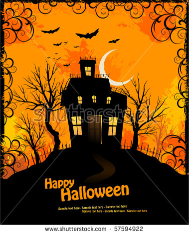 Halloween Invitation With Haunted House And Creepy Background.