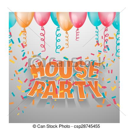 Clipart Vector of House party card invitation. 3d vector words.