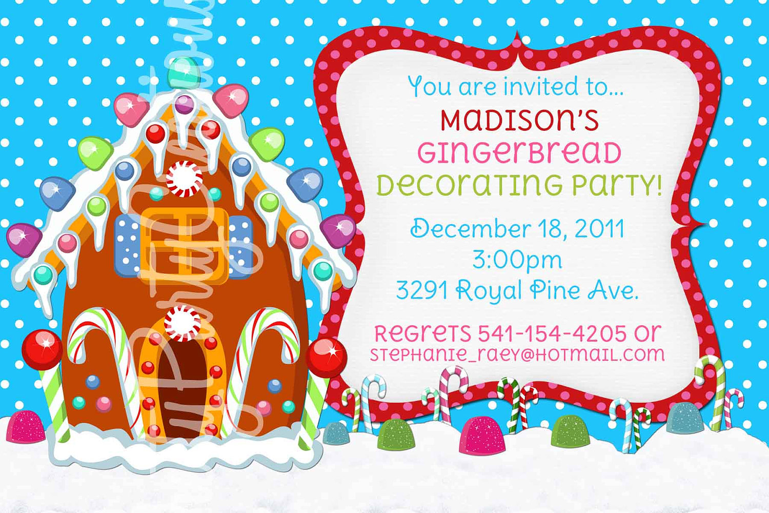 Gingerbread House Invitation Printable by ThatPartyChick on Etsy.