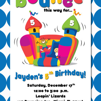 Bounce House Birthday Invitation Printable · Just Click Print.