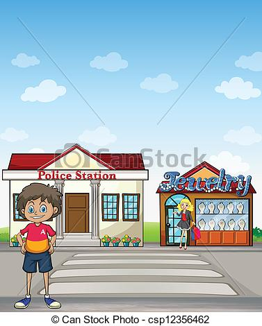 Clip Art Vector of Kid, police station and jewelry store.