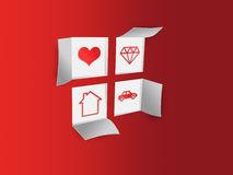 Paper Window Symbols 2c Heart 2c House 2c Jewelry 2c Car Stock.