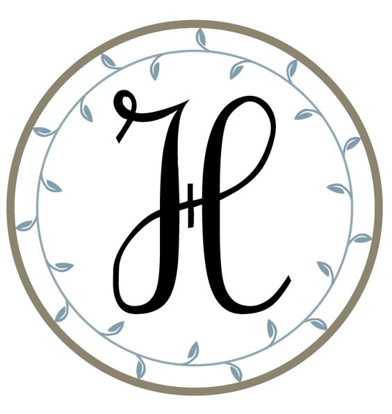 Letter H. Free printable monograms from The Hand Me Down House.