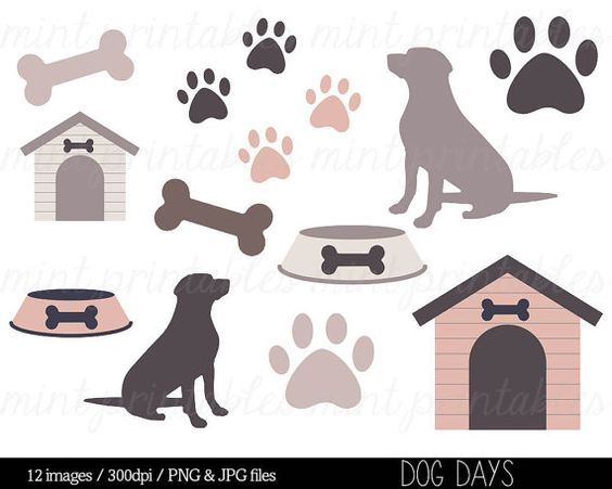 Dog Clipart Clip Art, Animal clipart, Dog Silhouette, Puppy, Pets.