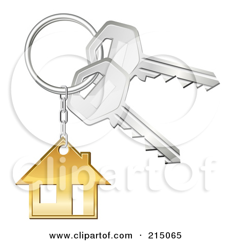 Clipart of a Blue House Key.