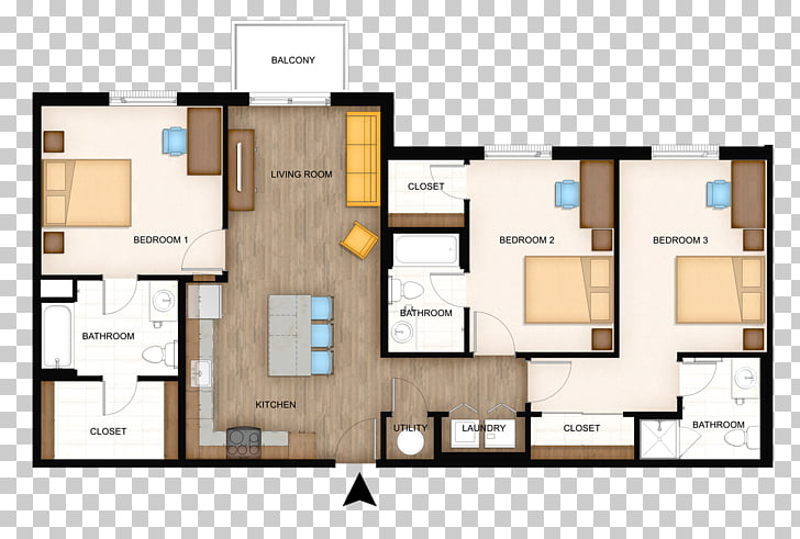 Apartment House 3D floor plan The Flats at WSU, Best Layout.