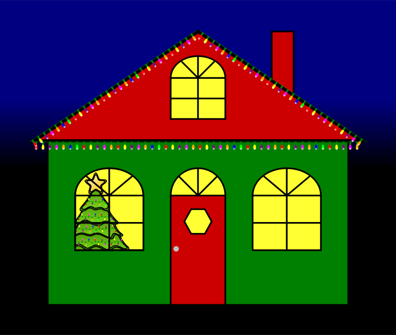 House With Christmas Lights Clipart.