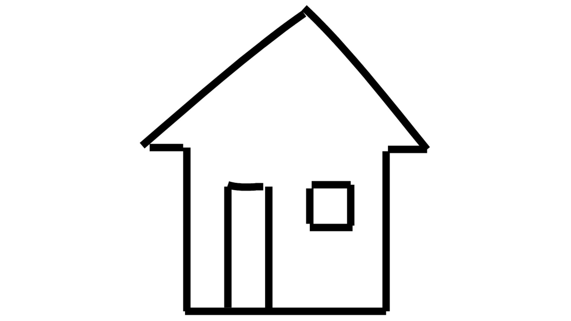 House line drawing illustration animation with transparent background.