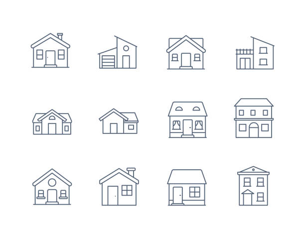 Best House Line Drawing Illustrations, Royalty.
