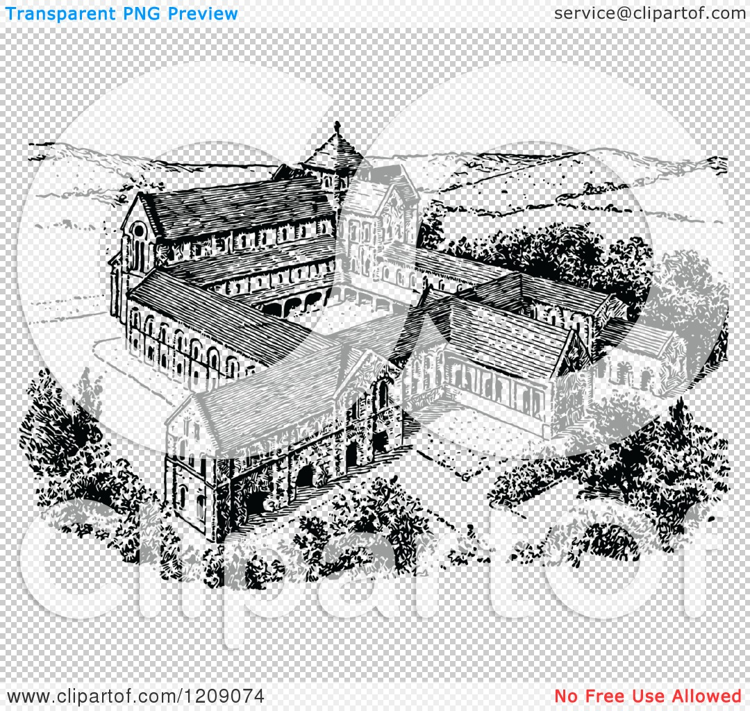Clipart of a Vintage Black and White Norman Monastery.