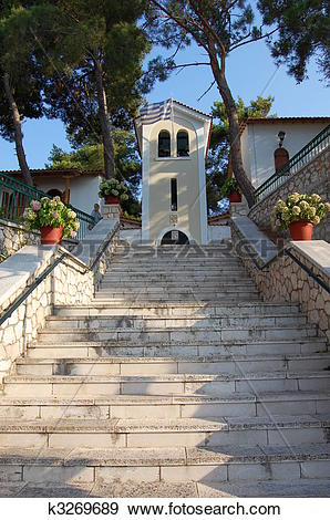 Stock Photograph of Stairs to Faneromeni monastery on the island.