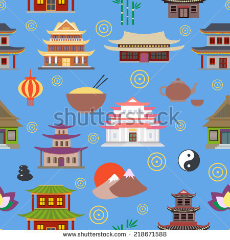 Chinese House And Traditional Culture Symbols Seamless Pattern.